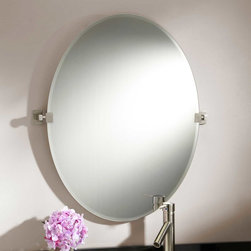 "31"" Helsinki Oval Tilting Mirror - Held on either side by rectangular brackets, the 31"" Helsinki Oval Tilting Mirror has a beautiful beveled edge and sleek, frameless design."