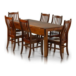 Summit Furnishings - Drop Leaf Rectangle Solid Maple Table, Dark Brown Tobacco Cherry, 44 X 68 X 30 W - Solid maple drop leaf dining table and chairs; hand crafted in America to be the perfect fit for any American home. The table top is 30 inches x 68 inches with two 7 inch drops to make 44 x 68. Summit Furnishings provides stylish home furnishings that are made to last and be enjoyed. Rich brown finish with catalyzed conversion varnish topcoat provides the ultimate in durable long lasting finish. Tested to withstand high heat, hot and cold cycles, long exposure to a detergent and water solution, substances typically found in the kitchen including vinegar, lemon, orange and grape juices, tomato catsup, coffee, olive oil, 100-proof alcohol for 24 hours and mustard for one hour. This furniture passes with a perfect rating showing no discoloration, stain, swelling, blistering or other film failures.