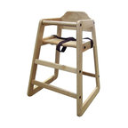 ORE International - Toddler High Chair w Safety Seat Belt in Natu - No-crack design. Wide sturdy base. Wipe for easy cleaning. Made from solid wood. 12 in. W x 12 in. D x 17 in. H (15 lbs.)Have the convenience of a restaurant style highchair in your home without flagging down the wait staff. Matches almost any decor. Just like in your family's favorite restaurant, you can have this terrific toddler high chair of your own. It is built to last and is sure to be passed from child to child in your family. This makes a great chair to keep at the grandparents' house for all the kids to use.