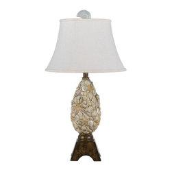 Cal Lighting - Cal Lighting BO-2475TB Seashell 1 Light Pedestal Base Table Lamp - Features: