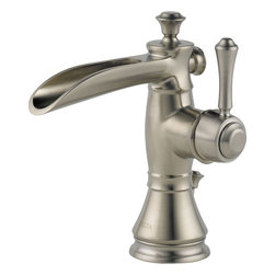 """Delta - Delta 598LF-SSMPU Cassidy Single-Handle Lavatory Faucet (Stainless Steel) - Delta 598LF-SSMPU Cassidy Single-Handle Lavatory Faucet with pop-up (Stainless Steel). The Delta 598LF-SSMPU is part of the Cassidy Series. This single-handle lavatory faucet features a lever handle for precise volume and temperature control, a solid brass fabricated body, and a 6-13/16"""" tall 5"""" long spout. It can be mounted in a one- or 3-hole applications with the included optional escutcheon. It comes with 1/2"""" NPSM threaded male inlet shanks, and has a 1.5 GPM flow rate. This faucet also comes with a metal pop-up drain assembly, and a classic, Stainless Steel finish."""