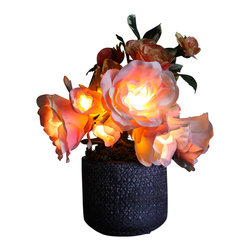 The Firefly Garden - Radiant Roses - Illuminated Floral Design, Pink and Peach, Purple Ceramic Vase - Bring the delights of Spring and Summer to your home with a choice of illuminated Rose colors housed in a selection of vases to fit any style. Accented with other bright florals, this 9 inch glowing arrangement is perfect for a guest bedroom or a subtle bathroom light in the evening. Uses three replaceable AA batteries.