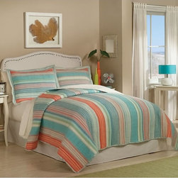 Retro Chic - Amagansett Quilt Set Multicolor - QS8061FQ-2320 - Shop for Home Furnishings and Accents from Hayneedle.com! The brightly colored Amagansett Quilt Set is a great choice for a master bedroom guest bedroom or summer cottage. This bright casual set is medium weight with 94% cotton fill and is comes with matching shams.Comforter Dimensions:Twin: 86L x 68W in.Queen: 86L x 86W in.King: 90L x 100W in.About Pem AmericaMakers of high-quality handcrafted textiles Pem America Outlet specializes in bedding that enhances your comfort and emphasizes the importance of a good night's rest. Quilts comforters pillows and other items for the bedroom are made with care and craftsmanship by Pem America. Their products cover a wide range of materials styles colors and designs all made with long-lasting quality construction and soft long-wearing materials. Details like fine stitching embroidery and crochet decorations and reinforced seaming make Pem America bedding comfortable and just right for you and your family.