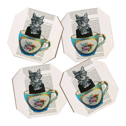 """DENY Designs - Coco de Paris """"Cat In A Cup"""" Coasters, Set of 4 - Say goodbye to water rings on your furniture and hello to the stylish solution: DENY Designs' Coaster Set. Available in a set of four, you can also opt for the coaster tray to house the set or go the a la carte route. Either way, your glasses are going to get a fun drinking companion!"""
