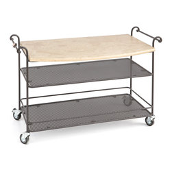 Gaia - Sirio Bar Cart with Travertine Top - Made by hand in Italy with wrought iron, this beautiful bar cart is perfect for the outdoors and any summer kitchen. With two storage shelves, stainless steel wheels, and a solid travertine stone top, this incredibly well constructed large cart is sure to make a statement at your next BBQ!  A perfect compliment to the outdoor kitchen!