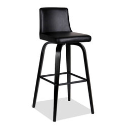 """Leick Furniture - Upholstered Black Over Black Bar Stool - Set of 2 - Bent plywood legs offer a broad, sturdy base on these edgy black over black bar stools. The seat and back are padded for comfort and upholstered in an Ebony faux leather. Padded and upholstered seat and back; Solid hardwood construction; Black over black finish; Bar height-30"""" seat; Simple Assembly in minutes; Pebble texture Black faux leather; Favorite Finds Collection; Material: Solid hardwood/PVC; Weight: 22 lbs; Dimensions: 18""""L x 15""""W x 39""""H"""