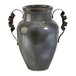 Bettina Short Urn with Iron Handle - A steel blue reactive glaze adds interest to the short Bettina urn. It's twisted iron handle design sets apart this Italian inspired piece.