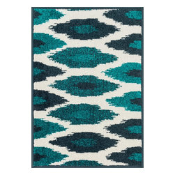 """Loloi Rugs - Loloi Rugs Terrace Collection - Ivory / Peacock, 1'-8"""" x 2'-6"""" - Bold design and bright colors come together beautifully in the outdoor-friendly Terrace Collection. Each Terrace rug is power loomed in Egypt of 100% polypropylene that's specially treated to withstand rain and UV damage without staining or fading color.�"""
