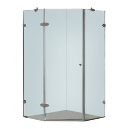 Vigo - Vigo 36 x 36 Frameless Neo-Angle 3/8in.  Clear/Brushed Nickel Shower Enclosure - Both dramatic and space-saving, the Vigo frameless neo-angle shower enclosure creates a beautiful focal point for your bathroom.