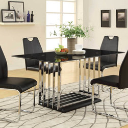 Coaster - Ethan Dining Table - The Ethan dining collection is just the thing for a modern lifestyle. Set the tone with the stylish contemporary look of the pedestal table. Multiple chrome bars on a black base with a sleek black table top will impress your dining guests. Mix and match to meet your style with two chair options. Both styles of chairs are come with upholstered cushioned seating and showcase straight, muted curves.