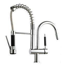 Kitchen Faucets - Solid Brass Spring Pull Out Kitchen Faucet ( Brushed Finish )
