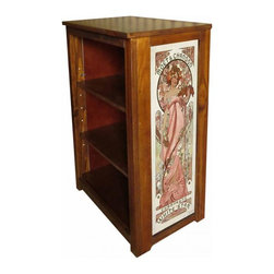 Kelseys Collection - Book cabinet 3 shelf Moet et Chandon - Book cabinet in solid pine features three adjustable storage shelves with two giclee prints on the side panels, showcasing Alphonse Mucha artwork. The giclee print have three coats of UV inhibitor. Dimensions are 33BY22BY12 Net weight 20 pounds. Three adjustable shelves. Estimated assembly time 20 minutes.