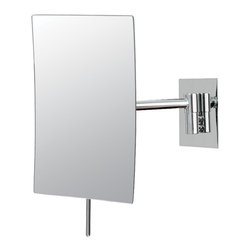 """Minimalist Rectangle Wall Mirror - The chicness of the Minimalist Rectangular Wall Mirror makes this piece great to make any trip to the vanity feel like an exclusive treat. The 9 ½"""" x 6 ¼"""" dimensions, 7"""" arm extension, 3x magnification, and visible concave of this single sided mirror really inspires a new fun side of any vanity, and all it sees. Available in three finishes."""