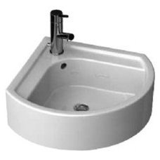 """Porcher 26030-00 Solutions 22"""" Corner Wall Mounted Fire Clay Bathroom Sink with"""