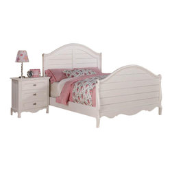 Homelegance - Homelegance Hayley 5-Piece Kids' Panel Bedroom Set in White - Country styling lends itself beautifully to the Hayley collection. Slat paneling is framed on the sleigh headboard and footboard and features an elegant medallion accent on each side. The white finish gives the collection a fresh look perfect for a child's or guest bedroom.