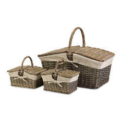 iMax - Olivia Picnic Baskets, Set of 3 - One each in this set of small, medium and large woven picnic baskets feature classic willow and fabric inserts.