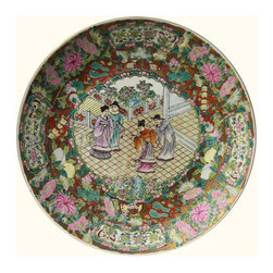 """n/a - 14"""" Chinese Porcelain Plate Hand Painted Rosé Medallion - Pastoral Chinese porcelain 14"""" Decorative Plate.  Rosé Medallion design exquisitely hand painted inside and outside with dedicated artisanship.  Gold leaf glazing & hand painted traditional wedding scene. For decorative use only. Makes a perfect wedding gift! Exceptional Chinese porcelain is Stronger. Less brittle.  More beautiful than a ceramic. This Asian treasure will enhance your dining room. Why not add a rosewood stand to optimize its display? Browse our extensive collection of fine Chinese porcelain pieces for more ideas. Get yours now. These hand painted Oriental porcelain gems are rare. 14"""" diameter x 1.1/2"""" thick."""