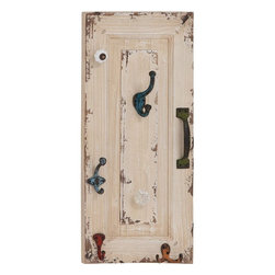 Benzara - Wall Hook with Utility and Style in Distressed Finish - Add elegance to your home decor with this Wood Metal Wall Hook 11 in. W, 24 in. H that brings together utility and style with its attractive design. Featuring a vintage style appeal, this wall hook is a perfect addition for all modern and classic decor spaces. The wall hook is detailed with a distressed finish and can be added to bedrooms or entryways for convenient reach. The wall hook has a wooden back-plate which is designed for durability and offers maximum support to the design. This back-plate has paneled detailing which gives the design a classic, old-world appeal. Brandishing an assortment of hooks and handles, this wall hook offers great ease to keep hats, keys, scarves, belts and other such essentials close at hand. It is made from sturdy metal that assures long durability.
