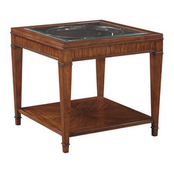 None - Emerald Contemporary Square End Table with Glass Top - Crafted from rubberwood solids and select Primavera veneers,the Prestige set is highlighted with a rich cognac finish. Primavera veneers offer an exquisite backdrop to the collection's signature chrome circular motifs.
