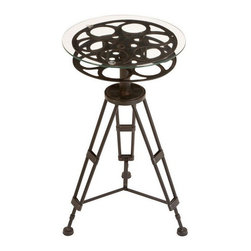 Metal Glass Accent Table A Tripod Table by Benzara - Novelty pieces of furniture can be fun. My boys would love to set their popcorn bowls on top of an old film reel during movie night.