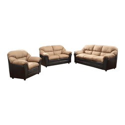 """Acme - 2-Piece Connell Saddle Microfiber and Espresso Vinyl Sofa and Love Seat Set - 2-Piece Connell collection two tone saddle microfiber and espresso vinyl upholstered sofa and love seat set. This set includes the sofa and love seat with padded backs and overstuffed arms. Sofa measures 80"""" x 31"""" x 38"""" H. Love seat measures 60"""" x 31"""" x 38"""" H. Chair also available separately at additional cost. Some assembly may be required."""