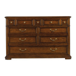 Stanley Furniture - Arrondissement Grand Rue Dresser - Heirloom Cherry Finish - Ample storage is the hallmark of the Grand Rue Dresser. Featuring eight drawers, including a partitioned bottom drawer for tidier storage, the dresser is a classic design that features a maple inlay on the top. A mix of genuine brass knobs and pulls add to the timeless look of the piece. Two partitions in bottom drawer, side guided bottom drawer. Made to order in America.