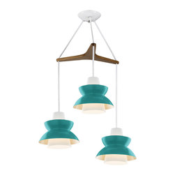 Astron Tri: Mid-Century Modern Chandelier - So vintage, yet modern. I love the turquoise and seriously want this so bad! This would definitely be a good focal point over any dining table.