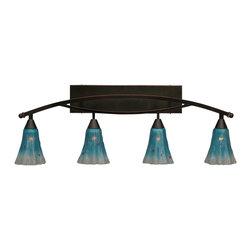 "Toltec - Toltec 174-BC-725 Bow 4-Light Bath Bar Shown in Black Copper Finish - Toltec 174-BC-725 Bow 4-Light Bath Bar Shown in Black Copper Finish with 5.5"" Teal Crystal Glass"