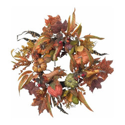 "24"" Pumpkin and Berry Wreath - The perfect complement to our other Pumpkin offerings, this exceptional wreath signifies the arrival of the harvest season, and perfectly embodies the spirit of autumn. Bursting with bounty (faux, of course) in almost every color and texture imaginable, this is a wreath that will add to any holiday decor for years to come. It also makes a perfect gift for that ""hard to buy for "" person. Height= 24 in x Width= 24 in x Depth= 24 in"