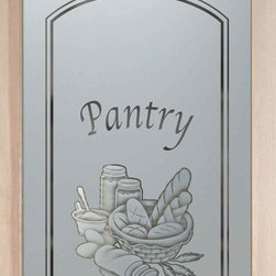 """Bread Basket - 2D - PANTRY DOORS TO SUIT YOUR STYLE!  Glass Pantry Doors you customize, from wood type to glass design!   Shipping is just $99 to most states, $159 to some East coast regions, custom packed and fully insured with a 1-4 day transit time.  Available any size, as pantry door glass insert only or pre-installed in a door frame, with 8 wood types available.  ETA for pantry doors will vary from 3-8 weeks depending on glass & door type.........Block the view, but brighten the look with a beautiful obscure, decorative glass pantry door by Sans Soucie!   Select from dozens of frosted glass designs, borders and letter styles!   Sans Soucie creates their pantry door obscure glass designs thru sandblasting the glass in different ways which create not only different effects, but different levels in price.  Choose from the highest quality and largest selection of frosted glass pantry doors available anywhere!   The """"same design, done different"""" - with no limit to design, there's something for every decor, regardless of style.  Inside our fun, easy to use online Glass and Door Designer at sanssoucie.com, you'll get instant pricing on everything as YOU customize your door and the glass, just the way YOU want it, to compliment and coordinate with your decor.  When you're all finished designing, you can place your order right there online!  Glass and doors ship worldwide, custom packed in-house, fully insured via UPS Freight.   Glass is sandblast frosted or etched and pantry door designs are available in 3 effects:   Solid frost, 2D surface etched or 3D carved. Visit or site to learn more!"""