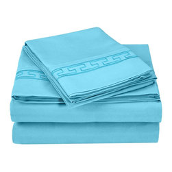 Executive 3000 Series Regal Embroidery Sheet Set - California King - Aqua - The new Executive Series features updated highest quality 100% microfiber sheets and pillowcases. The microfibers are 100 times thinner than a strand of hair making the weave impenetrable to allergens and dust mites. These sheets and pillowcases feature an embroidered regal geometric pattern on the borders and are comfortable as well as durable. Set includes One Flat Sheet 108x102, One Fitted Sheet 72x84, and Two Pillowcases 20x40 each.