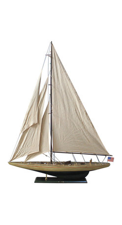 "Handcrafted Nautical Decor - Rustic Enterprise 60"" - Wooden Rustic Sailboat - Not a model ship kit"