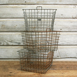 Vintage Industrial Wire Locker Basket by Aurora Mills - These vintage locker baskets would be a perfect place to store my kids' books and toys.