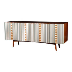 Avrille Sideboard - Clean midcentury lines are paired with swanky 1960s baubles in this extremely stylish and functional wooden sideboard. It's a stunning piece of furniture for your dining or living room with just the right amount of whimsy.