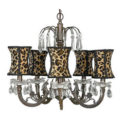 Mocha Waterfall Chandelier with Hourglass Leopard Shades - This fun Mocha waterfall chandelier features hourglass leopard shades.