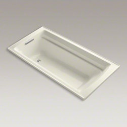 """KOHLER - KOHLER Archer(R) 72"""" x 36"""" drop-in bath - Taking its design cues from traditional Craftsman furniture, the Archer line of baths reveals beveled edges and curved bases for a clean, sophisticated style. This bath offers a low step-over height while allowing for deep, comfortable soaking. Lumbar arc"""