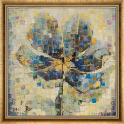 """Paragon Decor - Sun Showers Artwork - Brighten up those boring walls with this colorful piece, """"Sun Showers"""" The piece features a large abstract profile of a flower composed of contrasting squares of royal blues, mustard yellows, and soft lavender tones with subtle light greens and muted cr�me tones. It is unmatted, and placed within an antiqued bevel-edged golden frame. This piece measures 49 inches wide, 1 inch deep, and 49 inches high."""