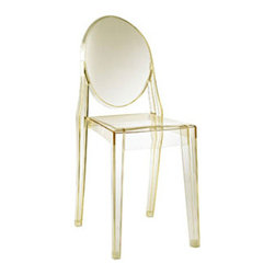 """LexMod - Casper Ghost Dining Side Chair in Yellow - Casper Dining Side Chair in Yellow - Combine artistic endeavors into a unified vision of harmony and grace with the ethereal Casper Chair. Allow bursts of creative energy to reach every aspect of your contemporary living space as this masterpiece reinvents your surroundings. Surprisingly sturdy and durable, the Casper Chair is appropriate for any room or outdoor setting. Pure perception awaits, as shining moments of brilliance turn visual vacuums into new realms of transcendence. Set Includes: One - Casper Side Chair For Outdoor Use, No Assembly Required, Injection Molded, Stackable, Sturdy Polycarbonate Overall Product Dimensions: 15""""L x 13""""W x 36""""H Seat Dimensions: 15""""L x 11.5 - 14""""W x 18.5""""H - Mid Century Modern Furniture."""