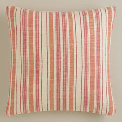 Red and Orange Striped Herringbone Throw Pillow - I love how this pillow mixes two patterns in one with stripes made of a herringbone design.