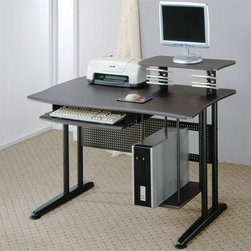 Coaster - Contemporary Computer Desk w Storage - Generously sized work top. Elevated shelf for a computer monitor. Attached CD holders. Roll out keyboard tray adds to the convenience. Lower shelf along the side to hold CPU. Black wood and metal finish. 47 in. W x 27.5 in. D x 38.5 in. H. WarrantyThis lovely computer desk will be a nice addition to your home office, or any other space in your home.