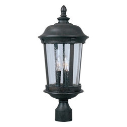 Maxim Lighting - Maxim Lighting Dover DC Traditional Outdoor Post Lantern Light X-ZBDC2203 - This Maxim Lighting outdoor post lantern light features traditional styling and a classic finish that highlights the traditional appeal of the design. From the Dover Collection, this traditional outdoor lighting fixture features subtle Mediterranean nuances, such as the cathedral style shape, paired with traditional details like the turned finial. The frame comes in a Bronze hue and features a seedy glass shade to complete the look.