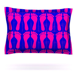"Kess InHouse - Sreetama Ray ""Footprints Purple"" Pink Blue Pillow Sham (Cotton, 30"" x 20"") - Pairing your already chic duvet cover with playful pillow shams is the perfect way to tie your bedroom together. There are endless possibilities to feed your artistic palette with these imaginative pillow shams. It will looks so elegant you won't want ruin the masterpiece you have created when you go to bed. Not only are these pillow shams nice to look at they are also made from a high quality cotton blend. They are so soft that they will elevate your sleep up to level that is beyond Cloud 9. We always print our goods with the highest quality printing process in order to maintain the integrity of the art that you are adeptly displaying. This means that you won't have to worry about your art fading or your sham loosing it's freshness."