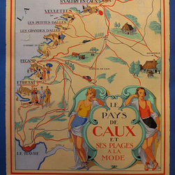 Consigned 1925 French Travel Poster, Le Pays de Caux - This original French travel poster was commissioned by the Comit� Touristique du Pays de Caux (Tourism Committee of Caux) and advertises the many beaches along the French coast accessible by train. Two bathing beauties lean casually against the text, as if to say that relaxation and leisurely activities are to be had in these destinations. Signed in the lithographic plate by Lorenzi, this poster is linen backed and in excellent condition.