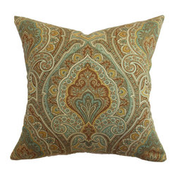 The Pillow Collection - Sabine Paisley Pillow Aqua Brown - - Comes standard at 18 x 18  - Reversible pillow with same fabric on both sides  - Includes a hidden zipper for easy cover removal and cleaning  - Comes standard with a down pillow insert  - All four sides have a clean knife-edge finish  - Pillow insert is 19 x 19 to ensure a tight and generous fit  - Cover and insert made in the USA  - Spot cleaning recommended  - Fill Material: Down  - Pillow cover made of Cotton The Pillow Collection - P18-MVT-1009-AQUA_BROWN-C100