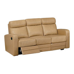 Beverly Hills Furniture Inc. - Slope Dual Reclining Leather Match Sofa - This sofa features buttery soft top grain leather and foam and spring on kiln-dried frame wrapped in leather/vinyl, as well as kiln dried solid wood frame construction for durability and reinforced corner blocks for added strength.
