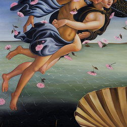 """overstockArt.com - Botticelli - Birth of Venus (left panel) - Botticelli's, Birth of Venus , was originally painted in 1486 inspired by the text in a Homeric hymn published in Florence in 1488 by the Greek refugee Demetrios Chalcondyles, """"Of august gold-wreathed and beautiful Aphrodite I shall sing to whose domain belong the battlements of all sea-loved Cyprus where, blown by the moist breath of Zephyros, she was carried over the waves of the resounding sea on soft foam. The gold-filleted Horae happily welcomed her and clothed her with heavenly raiment"""". Today it has been recreated in vibrant color and detail by hand using rich oils on canvas. Venus is an Italian Renaissance ideal: Blonde, pale-skinned, voluptuous. Botticelli has emphasized the femininity of her body (long neck, curvaceous figure). The brilliant light and soothing colors, the luxurious garden, the gorgeous draperies of the nymph, and the roses floating around the beautiful nude all suggest that the painting is meant to bring pleasure to the viewer. Make this painting a fanciful focal point in any room for family and guests to admire."""