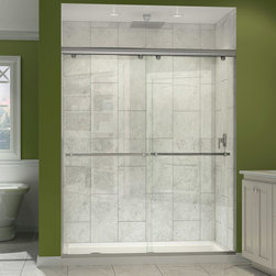 """Dreamline - Charisma Frameless xpass Sliding Shower Door & SlimLine 32"""" x 60"""" Shower Base - This DreamLine shower kit offers the perfect solution for a bathroom remodel or tub-to-shower conversion project with a CHARISMA frameless bypass shower door and a coordinating SlimLine shower base. The CHARISMA has a no wall profile design for the unique combination of a bypass sliding shower door and the beauty of frameless glass. Both frameless doors slide effortlessly across perfectly engineered rails, providing the ability to enter the shower space from either side. The SlimLine shower base completes the picture with a modern low profile design."""