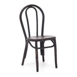 Zuo Modern - Nob Hill Chair Antique Black (Set of 2) - Among the first seating to be mass-produced, this steam-bent wood chair quickly became an icon, surrounding caf� tables all over 19th-century Paris and inspiring a host of variations. Our interpretation echoes the sculptural open loops of the steam-bent classics in carved and dovetailed elm � a handcrafted homage to the mass-produced original. Comes in natural, antique black, and antique white.