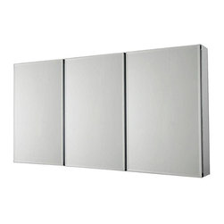 Pegasus - Pegasus 48 in. x 26 in. Recessed or Surface Mount Medicine Cabinet in Silver - 48 in. x 26 in. Recessed or Surface Mount Medicine Cabinet in Tri-View Beveled Mirror
