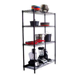 None - Trinity 4-tier NSF 36 x 14 x 54 Dark Bronze Indoor Wire Shelving Rack with Liner - Constructed of consumer-grade steel,these shelves are adjustable at 1-inch increments allowing for personal configuration. No tools are required and adjustable feet levelers and semii-transparent shelf liners are included.